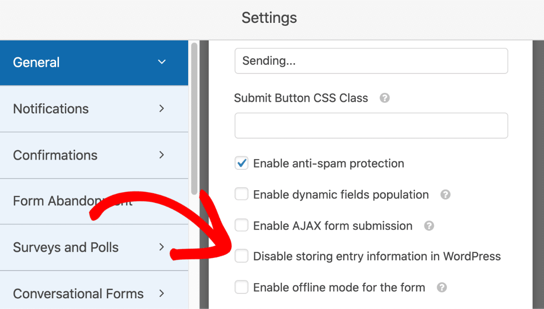 Disable storing form entry information in WordPress checkbox