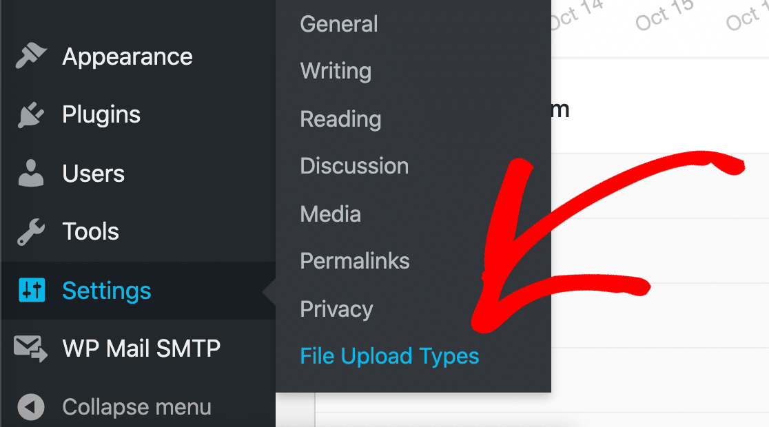 Click the File Upload Types WordPress menu to fix file type not allowed