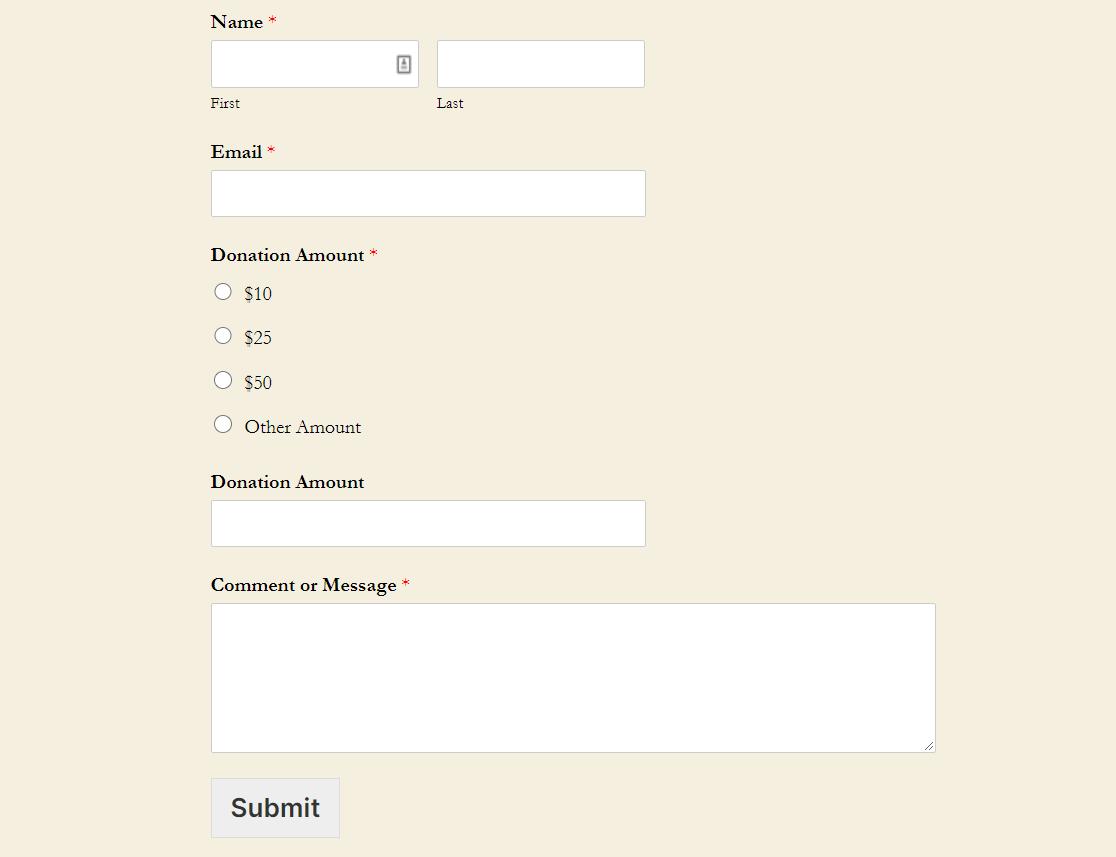 finished wordpress donation form
