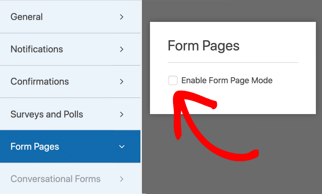 Activate form landing page mode in WordPress