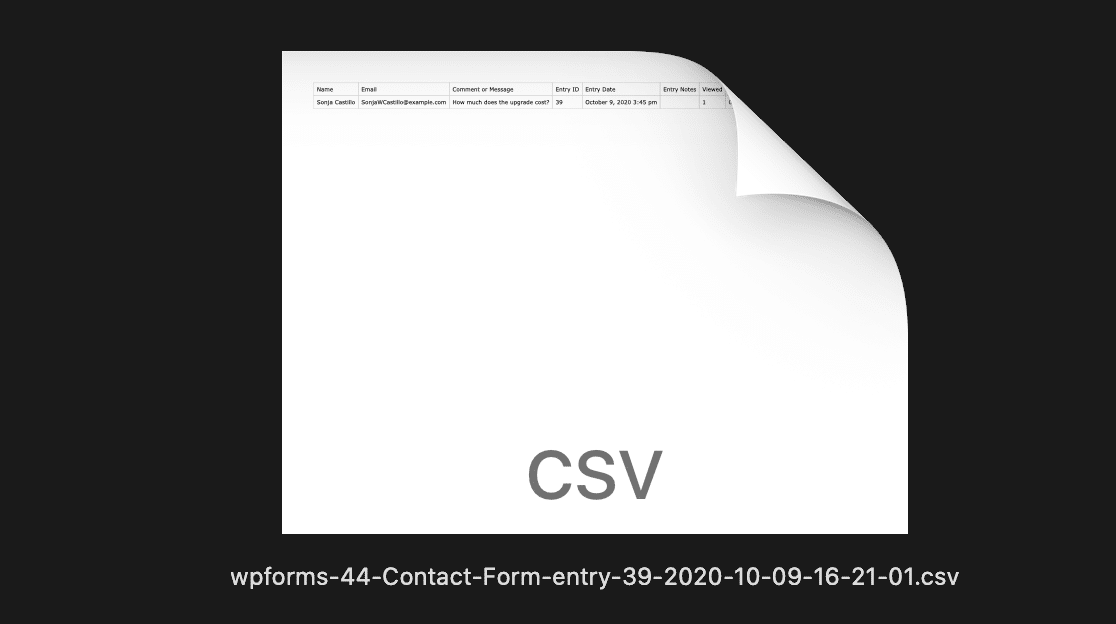 Export individual form entry to CSV from WordPress