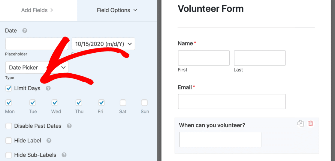 Limit days in the time and date field