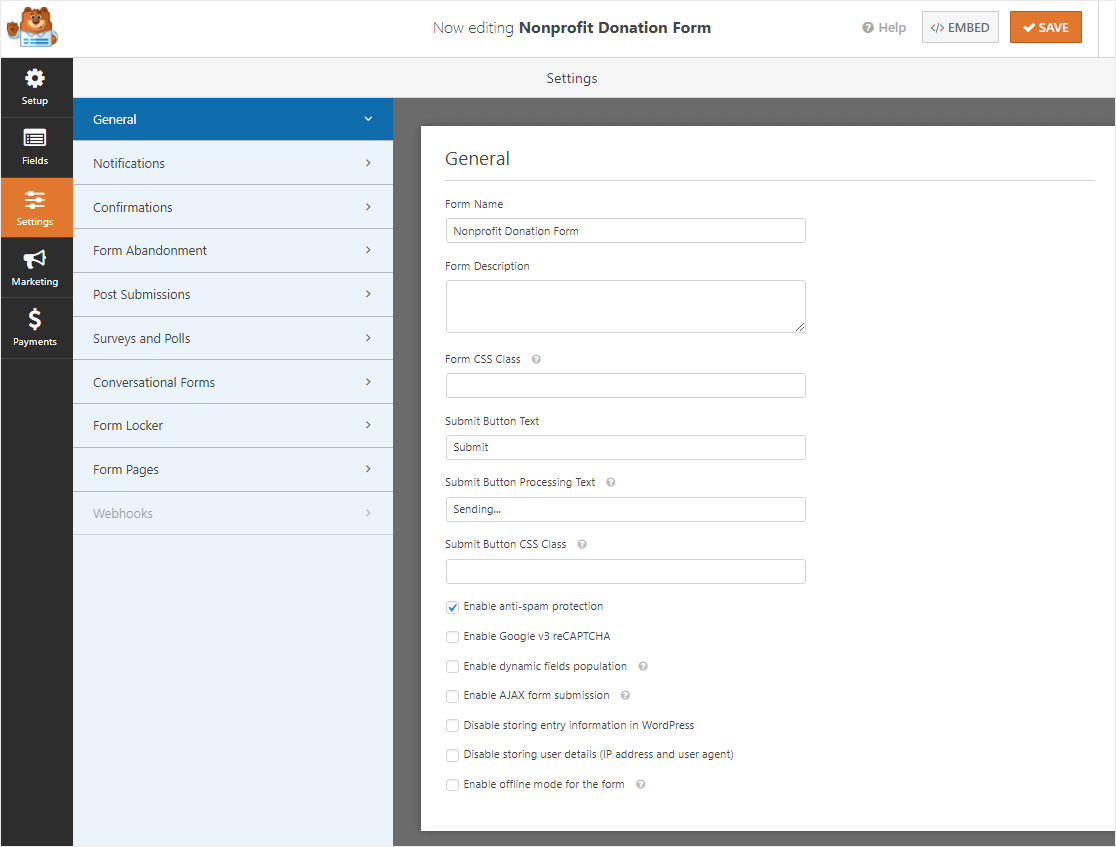 nonprofit donation form settings page