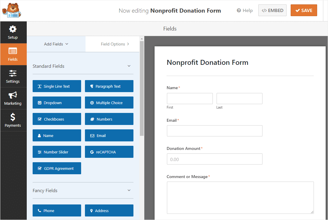 nonprofit donation form template in wordpress