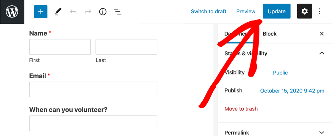 Publish form with multi select dropdown