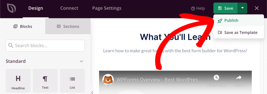 Publish your WordPress webinar landing page with SeedProd