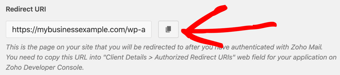 Copy the redirect URI for Zoho Mail SMTP