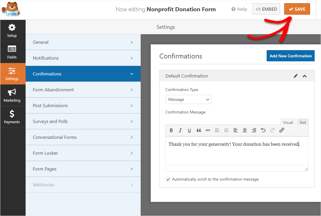 save confirmation settings in wordpress donation form