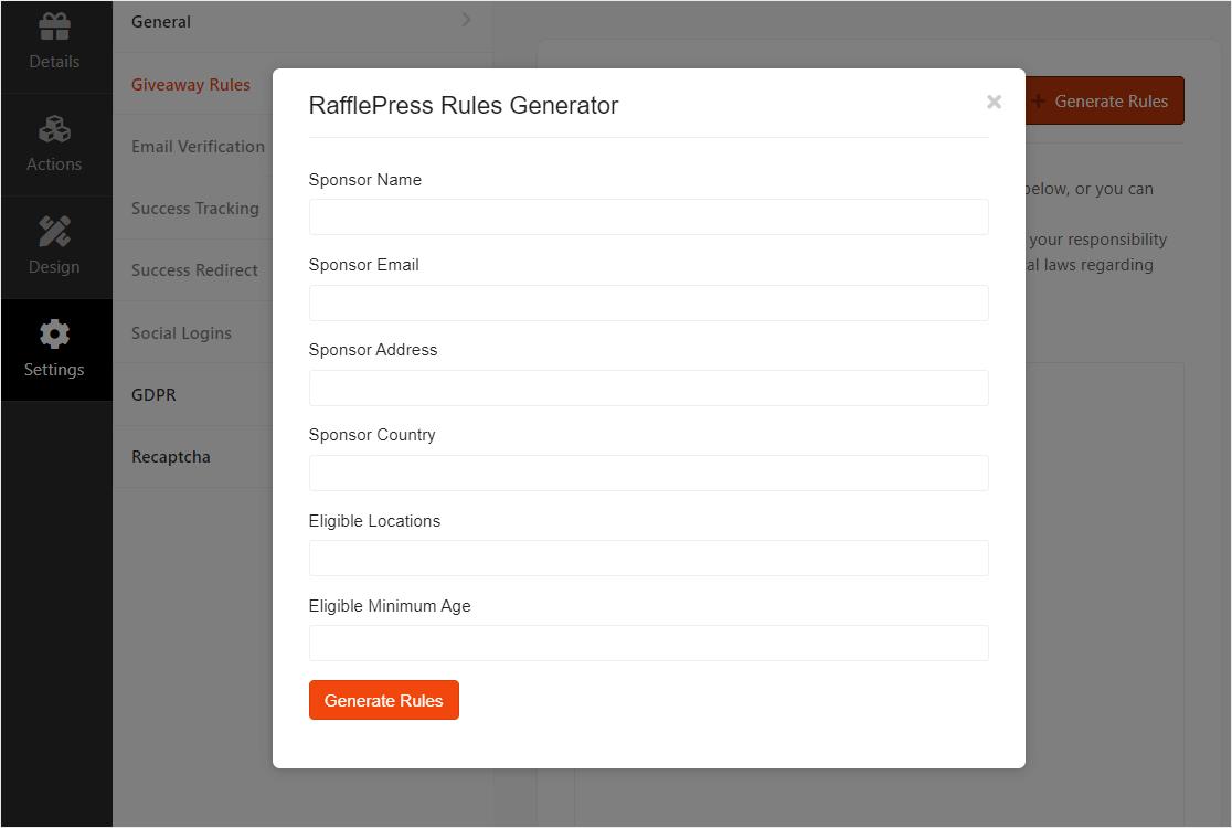 save rule generator in wordpress contests