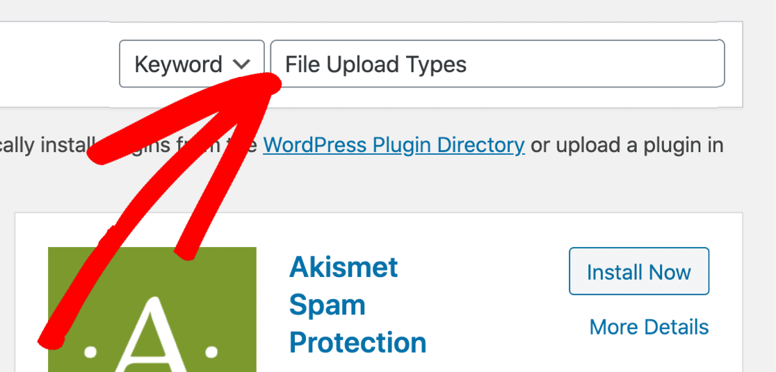 Search for the File Upload Types plugin
