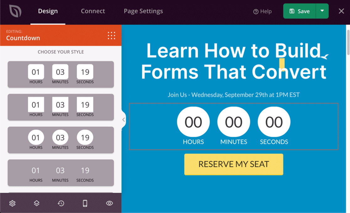 Add a timer to your WordPress webinar landing page