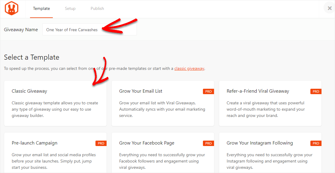 select and name wordpress contest