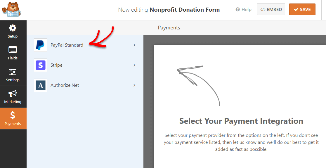 setup online payments for donation form