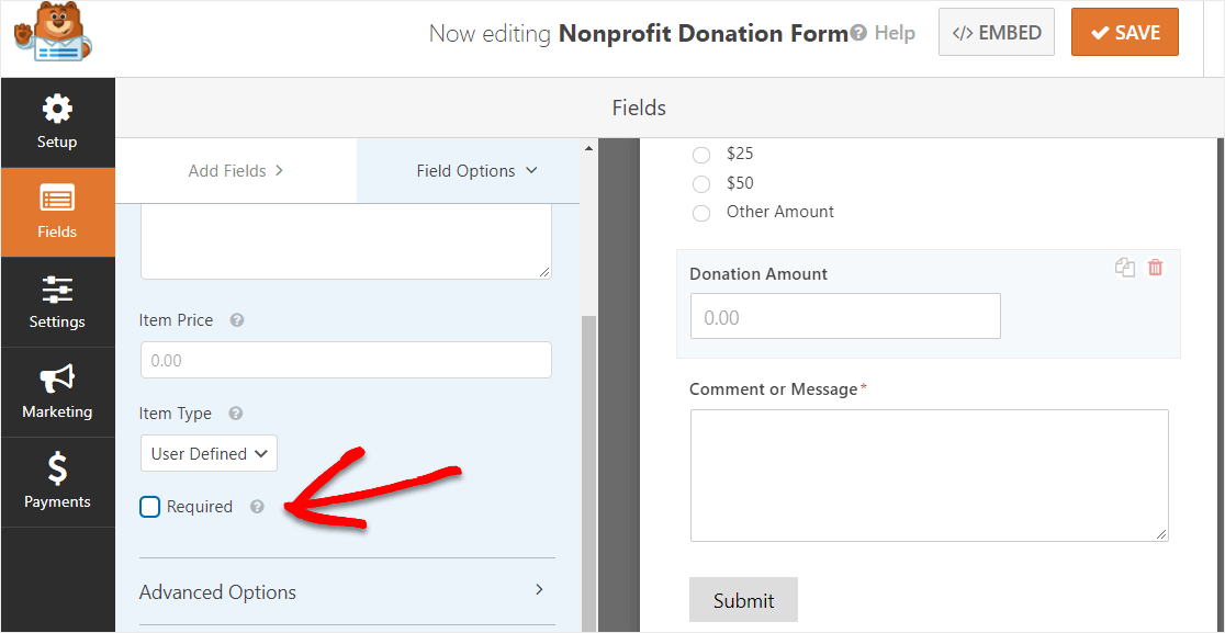 uncheck required button on donation form field