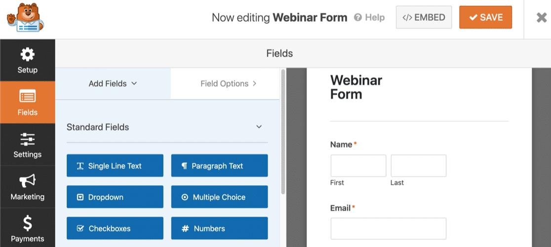 Customize webinar landing page form in WordPress