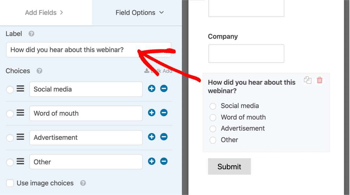 Edit the field on your WordPress webinar landing page