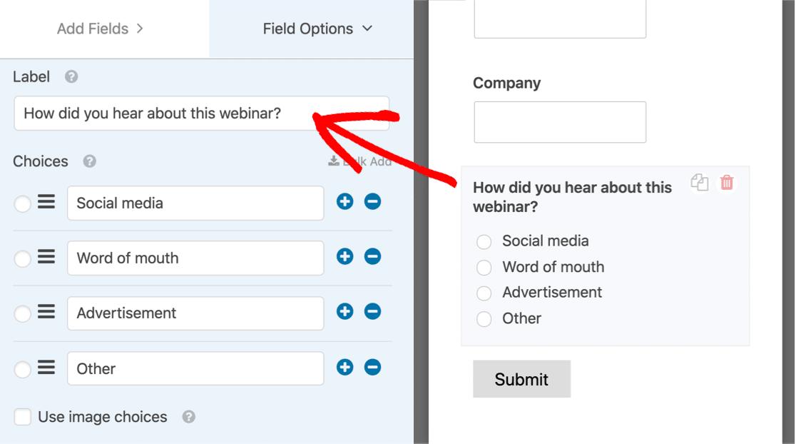 Edit the field on your WordPress webinar landing page