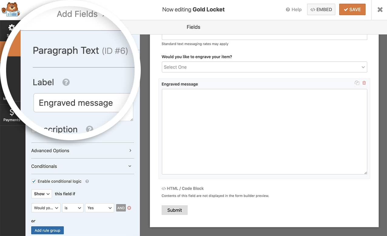 Start by adding a paragraph form field to your form