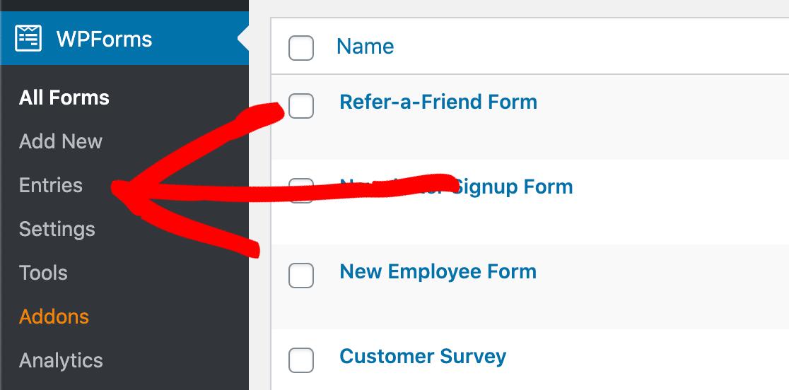 Click the WPForms entries menu to export form entries to CSV