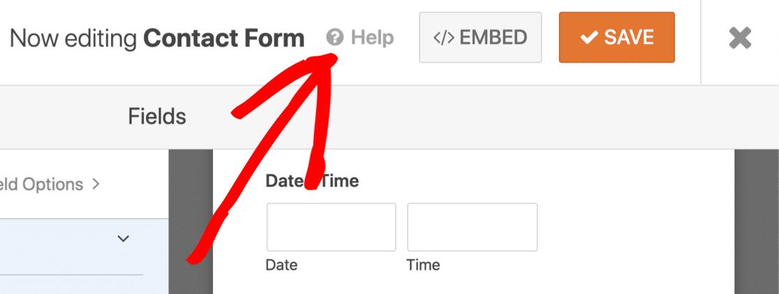 WPForms form builder Help button