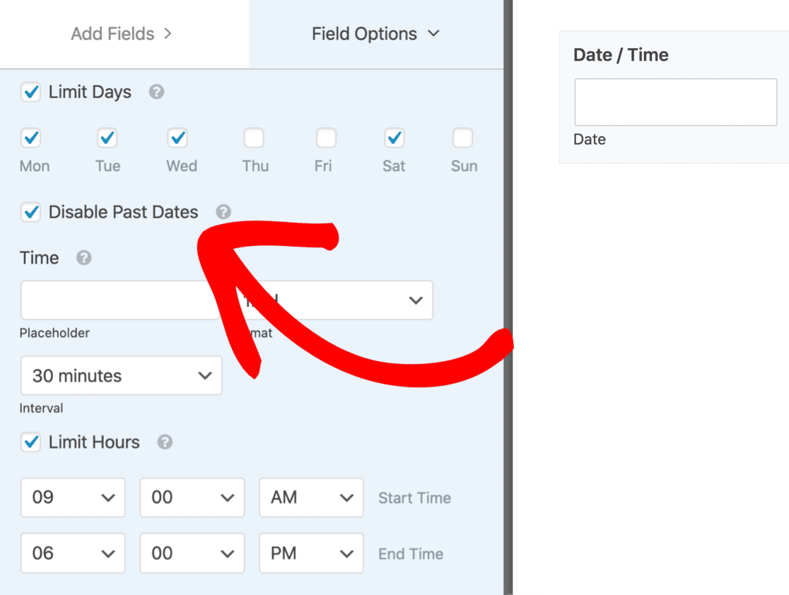 Stop visitors picking past dates in WPForms datepicker fields