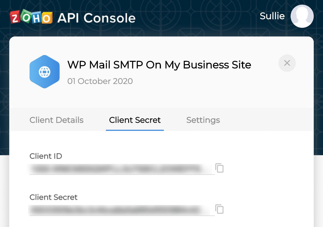Zoho Mail SMTP API credentials