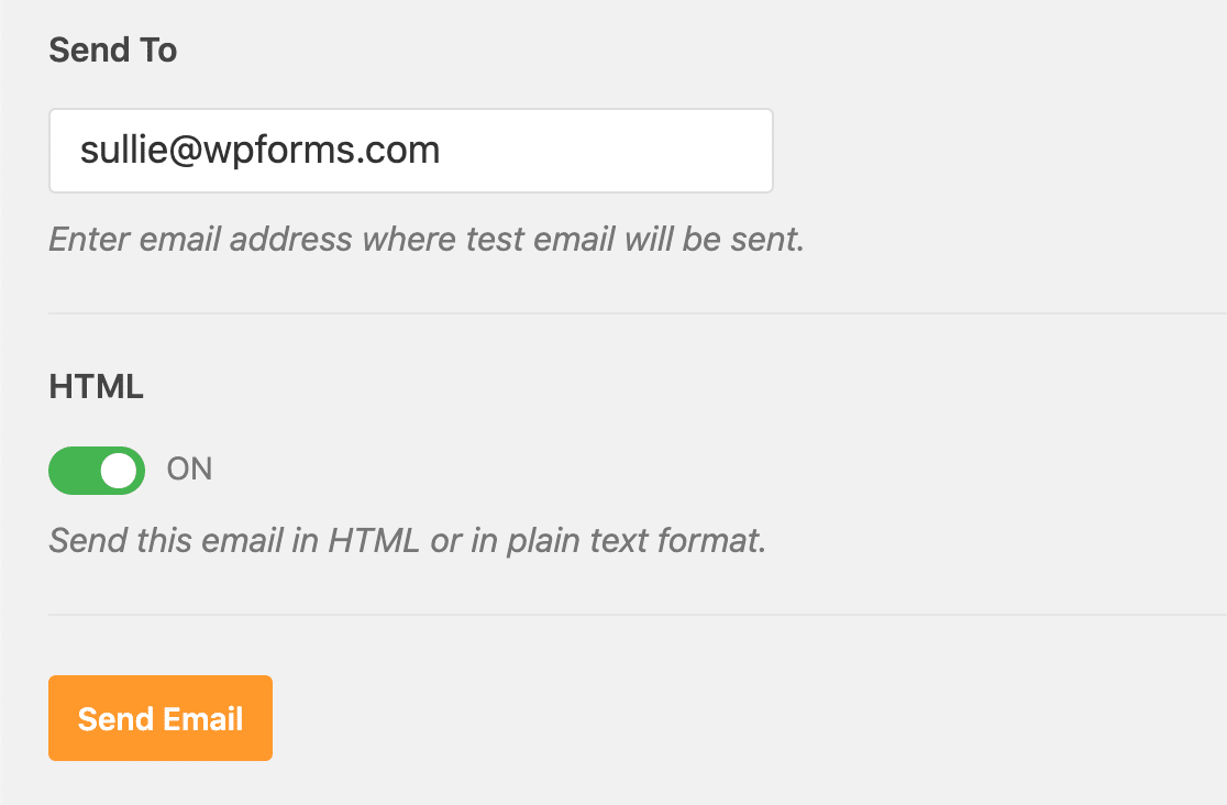 Set the Send To address for the Zoho Mail SMTP test email