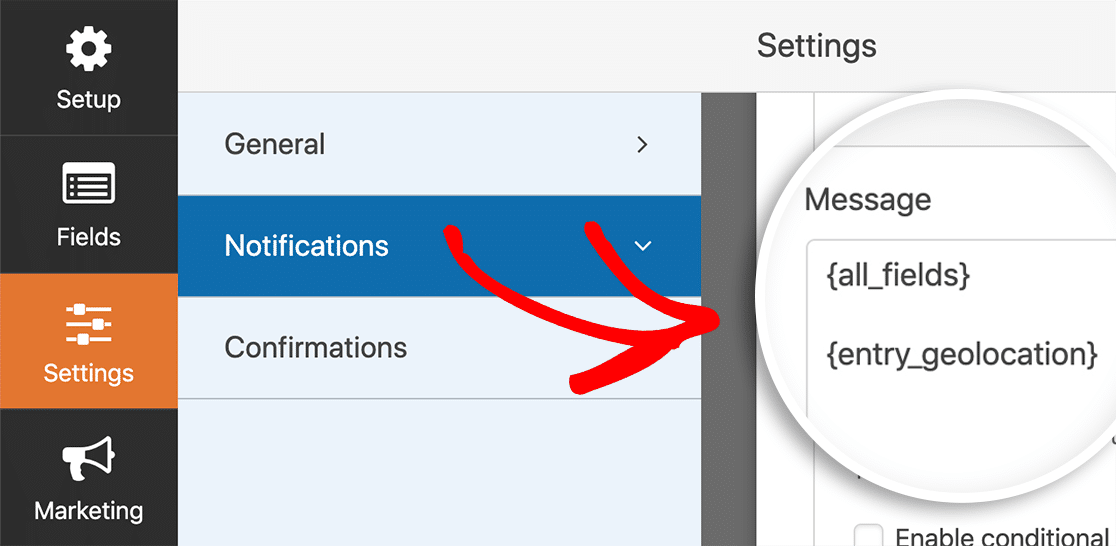 Add geolocation smart tag to notification email setting