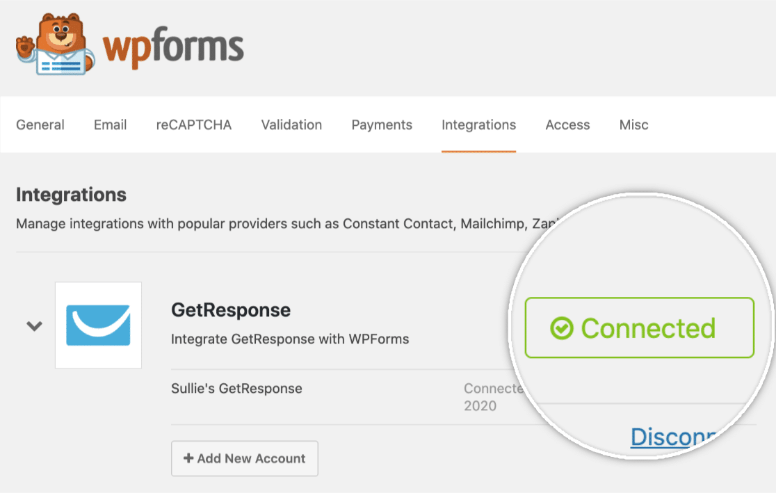 GetResponse account successfully connected to WPForms