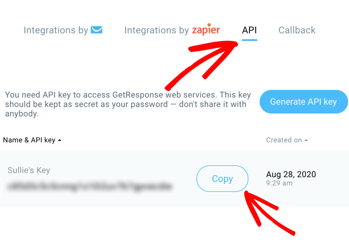 Copy GetResponse API key