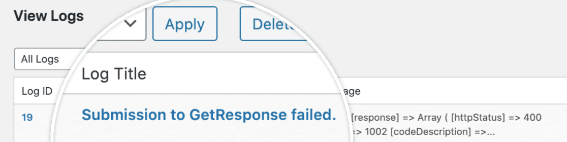 Submission to GetResponse failed