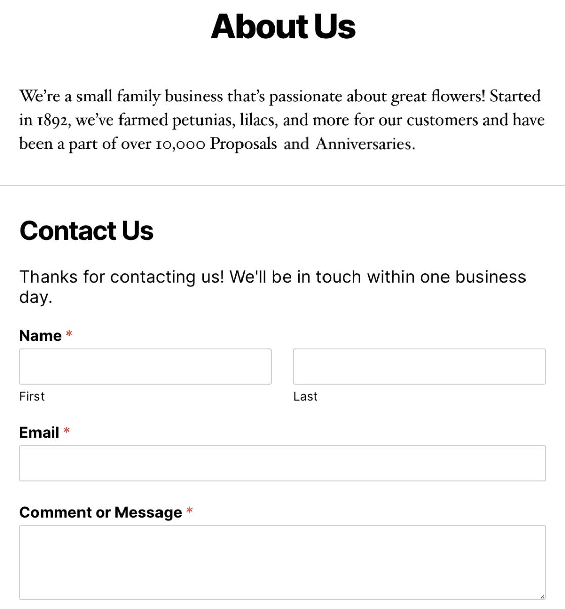 WPForms页脚示例