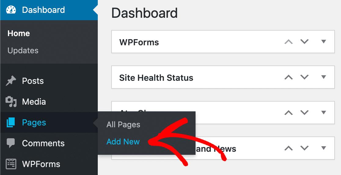 Add new WordPress page