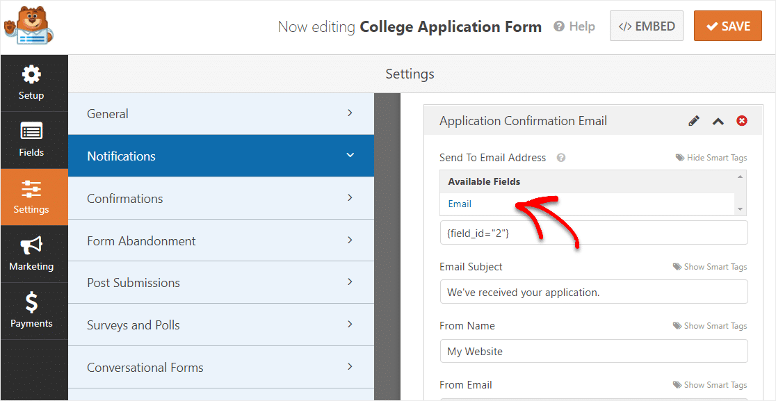 adding a smart tag to your college application form