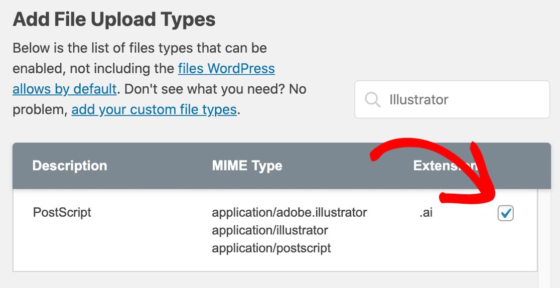 Upload AI file checkbox