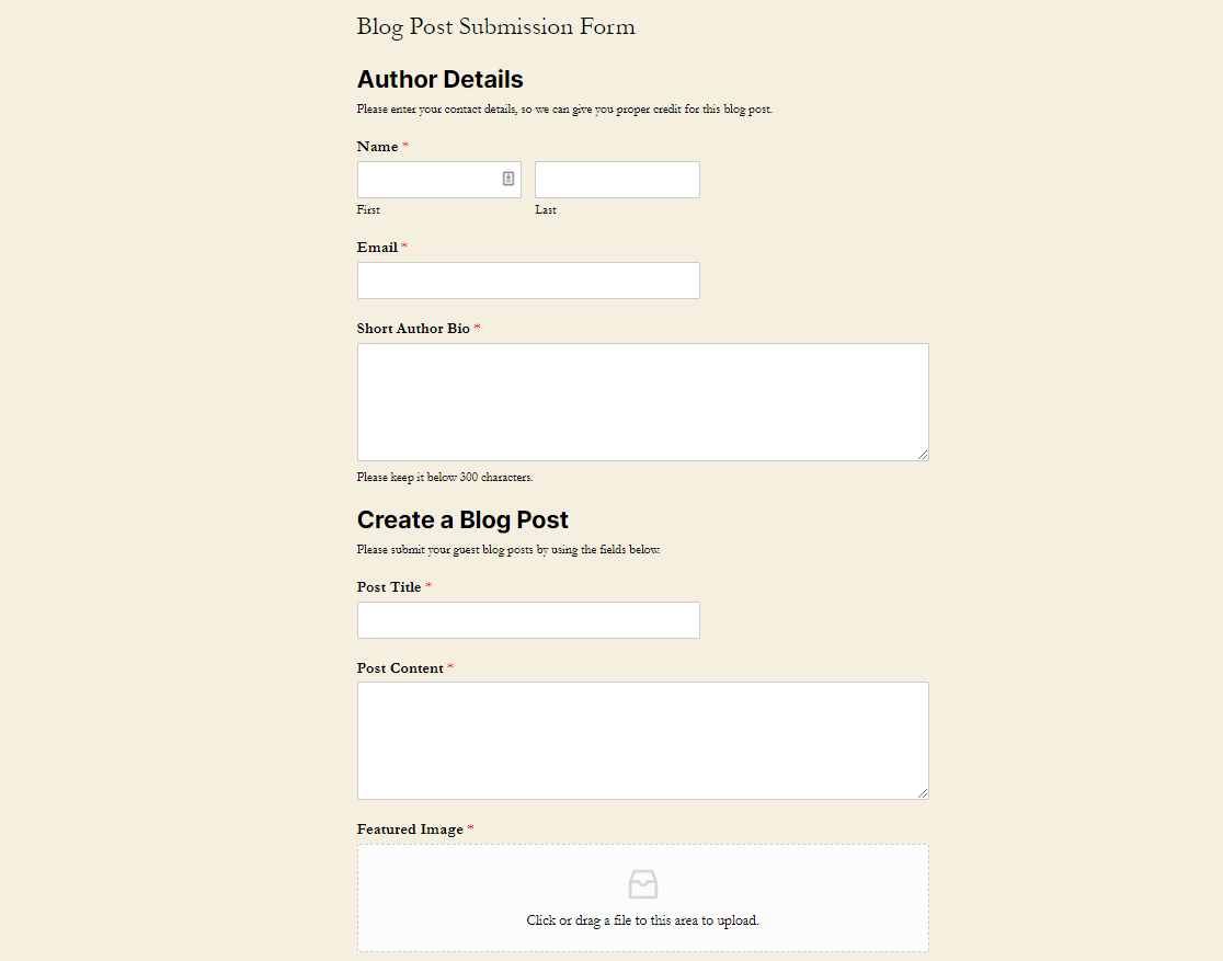 blog post submission form example