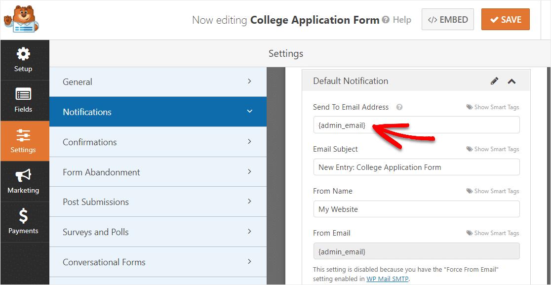 change default email address on college application form