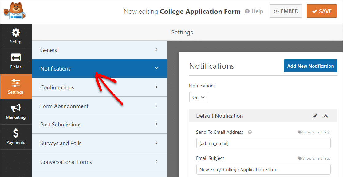 college application form notifications