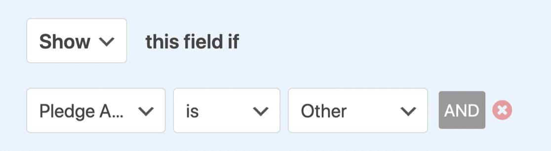Conditional logic setup for online pledge form