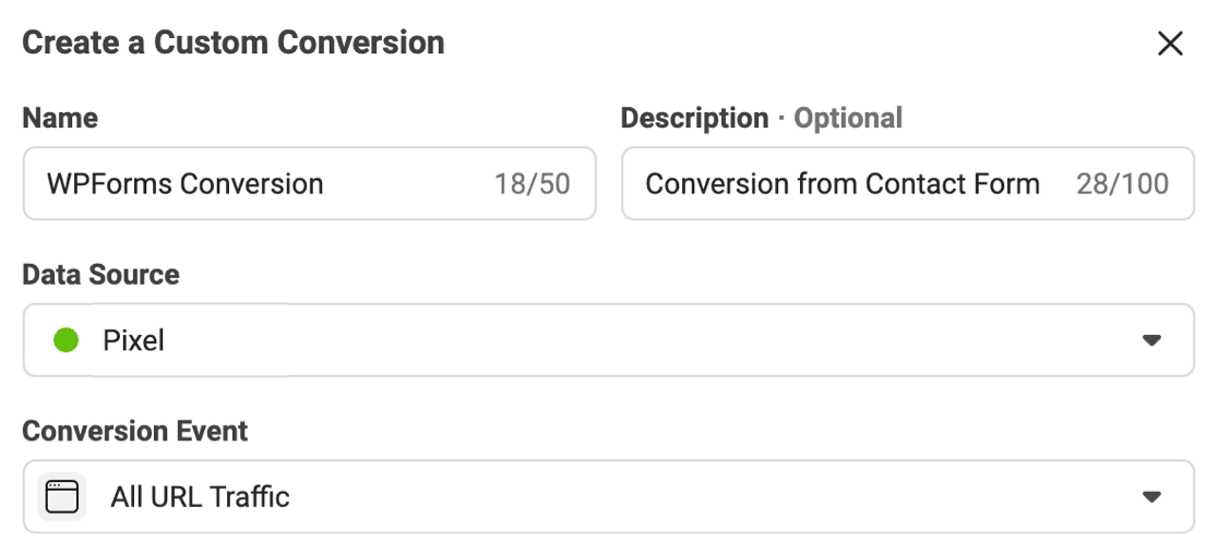 Create a Custom Conversion with Facebook Pixel for form submissions