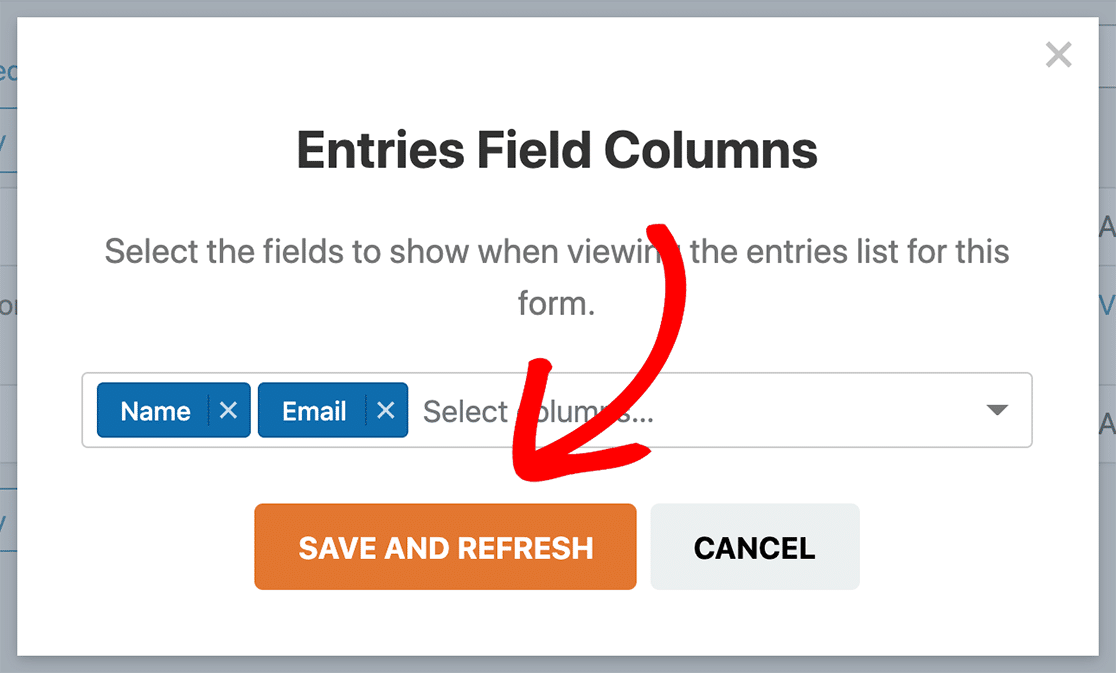 Save and refresh entries field columns