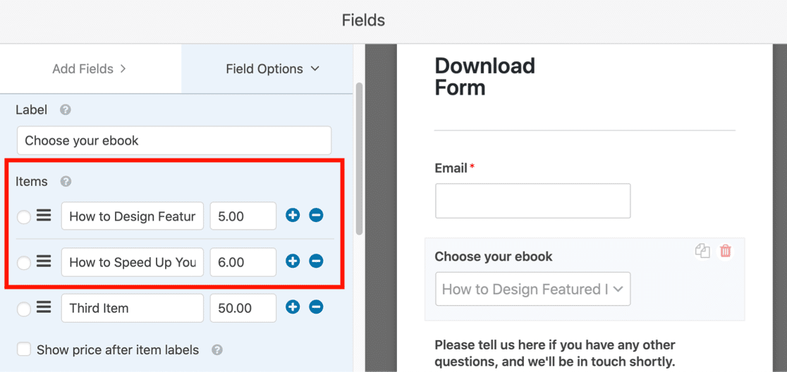 Dropdown field for ebook downloads