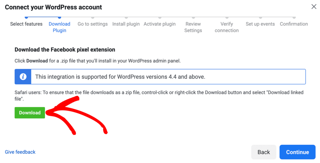 Download the Facebook Pixel WordPress plugin