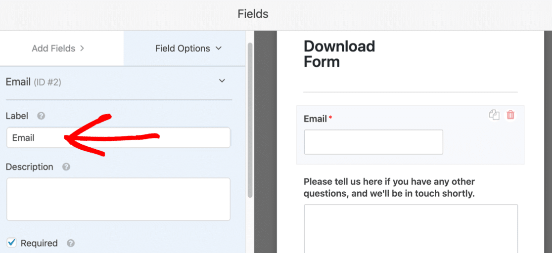 Edit the email field label