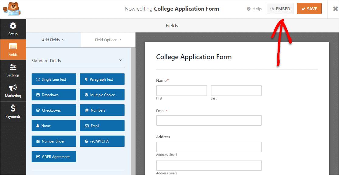 embed college application form onto wordpress website