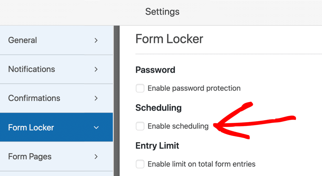 Enable form scheduling