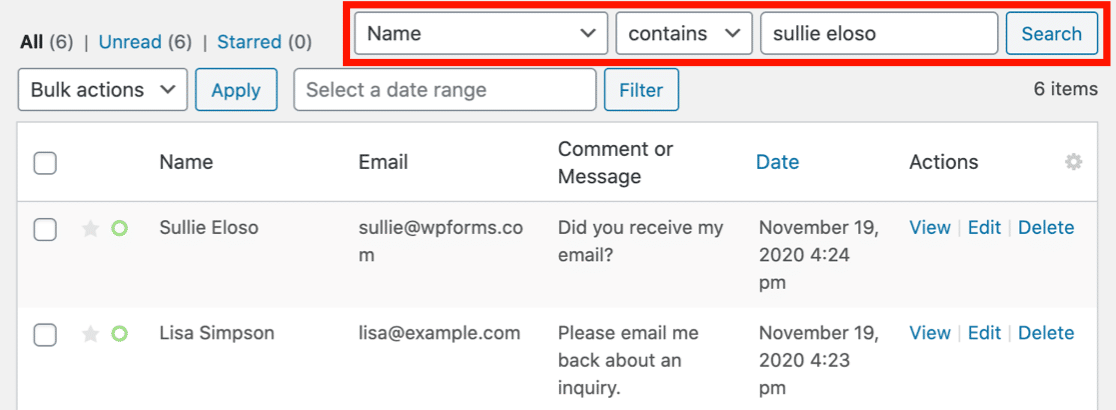 Search entries to delete under a Right to Erasure request
