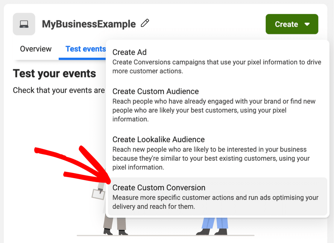 Add Facebook Pixel custom conversion