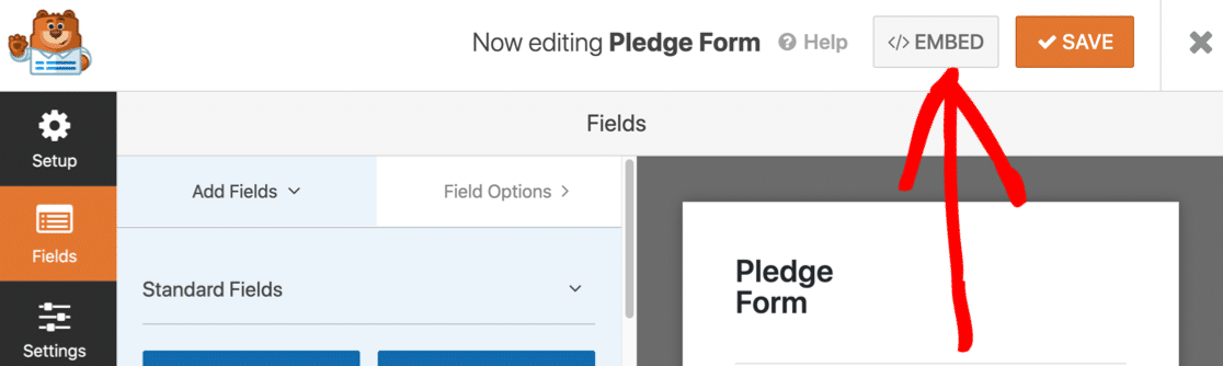 Embed your online pledge form in WordPress
