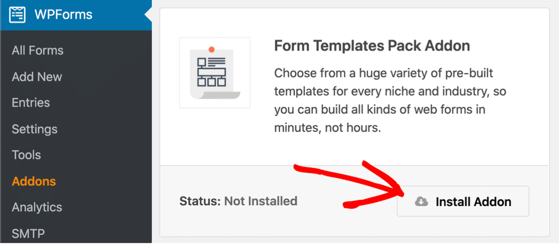 WPForms form template pack addon